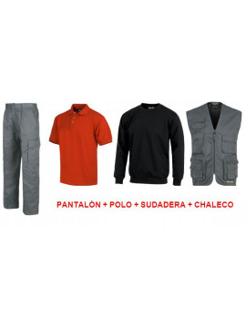 PANTALON + POLO + SUDADERA + CHALECO